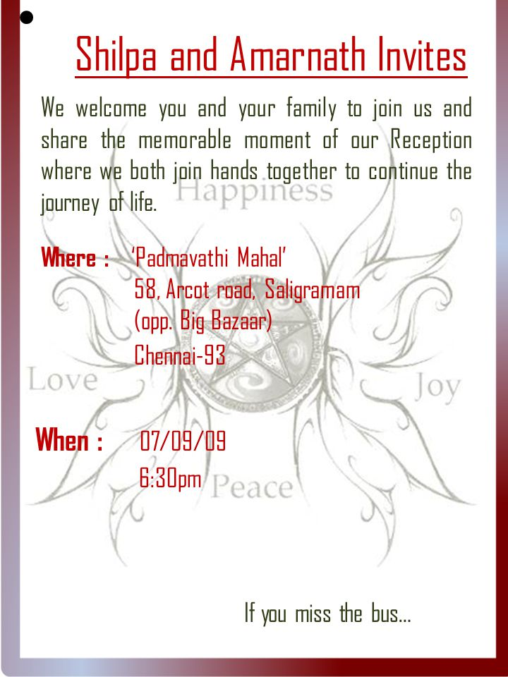 Shilpa and Amarnath Invites