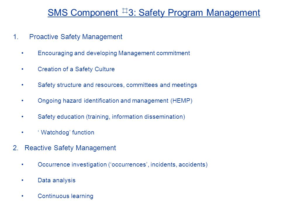 SMS Component ⌗3: Safety Program Management