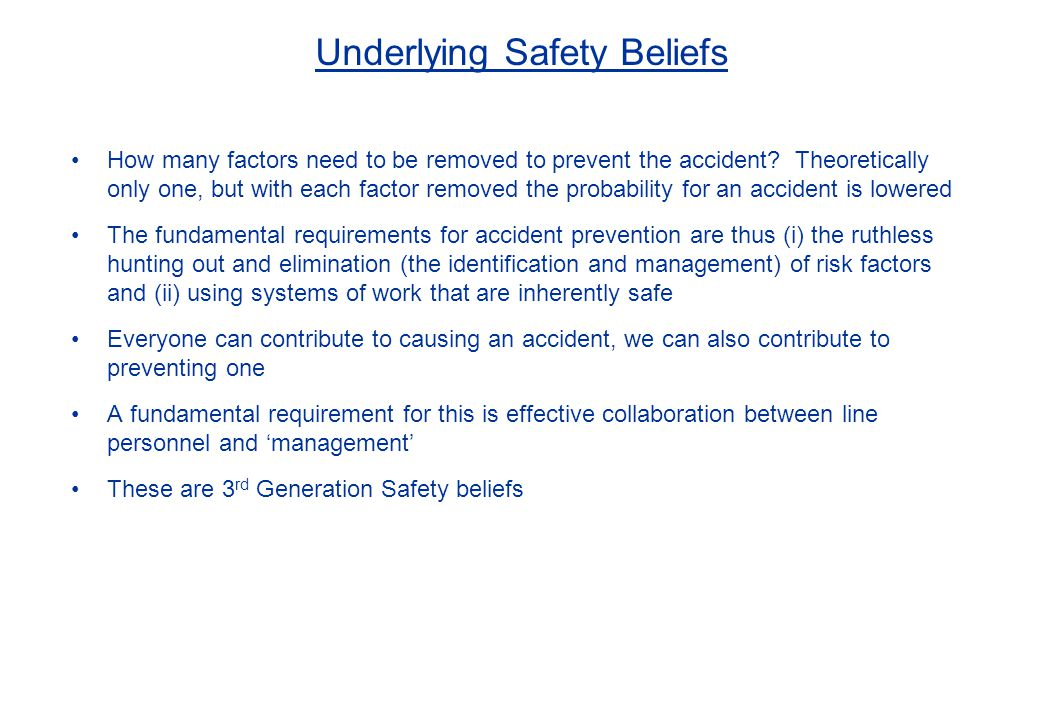 Underlying Safety Beliefs