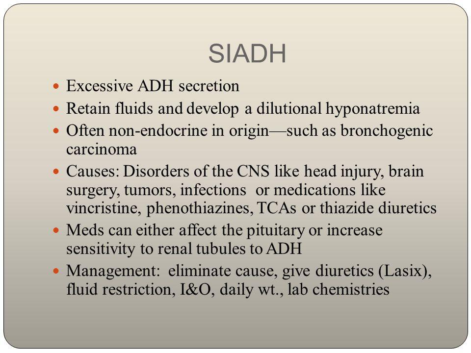 SIADH Excessive ADH secretion