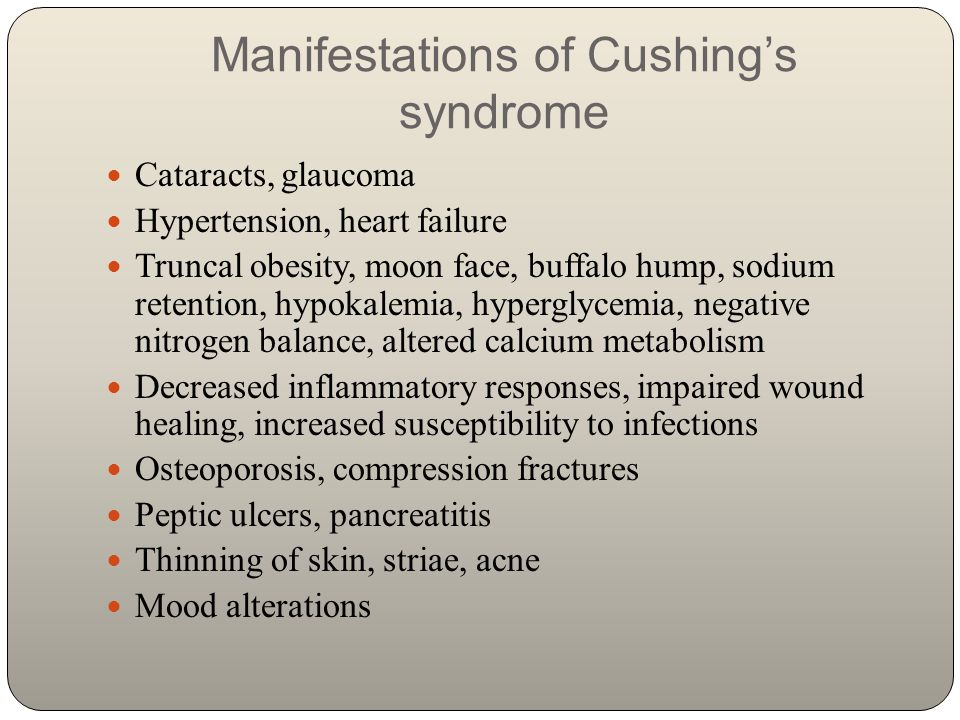 Manifestations of Cushing's syndrome