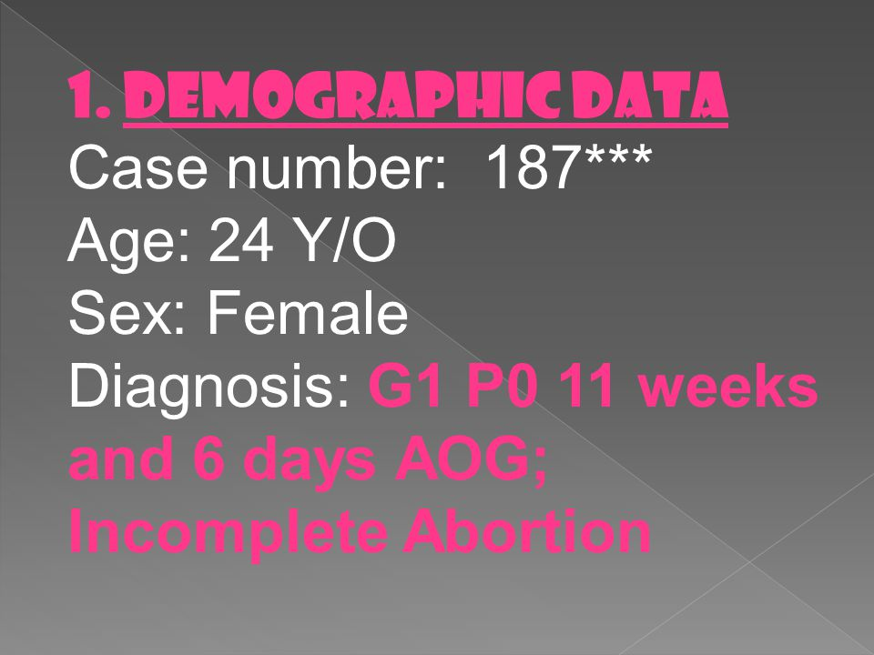 1. DEMOGRAPHIC DATA Case number: 187*** Age: 24 Y/O.