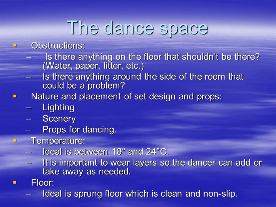 The dance space Obstructions: