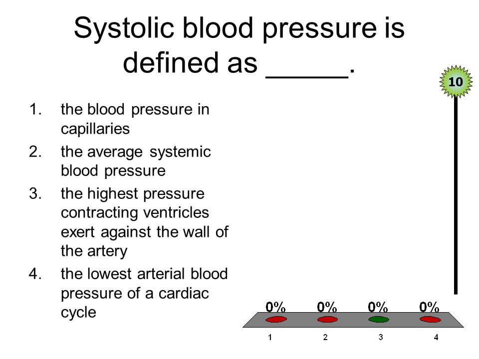 Systolic blood pressure is defined as _____.
