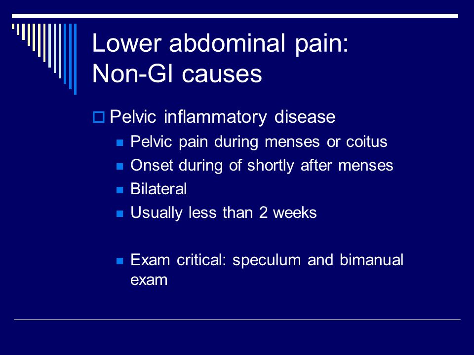 Lower abdominal pain: Non-GI causes