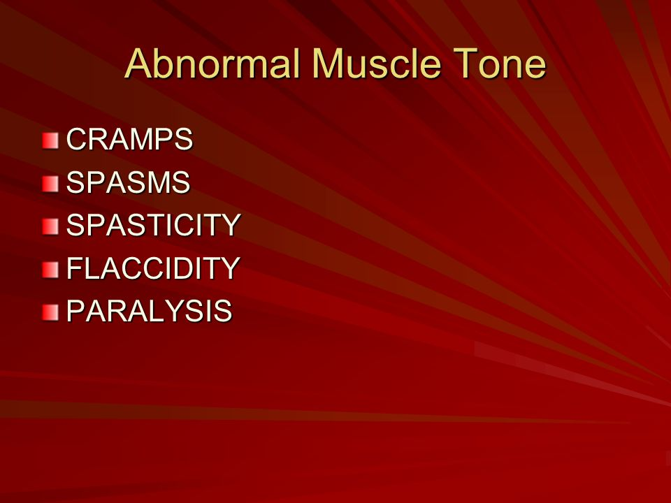Abnormal Muscle Tone CRAMPS SPASMS SPASTICITY FLACCIDITY PARALYSIS