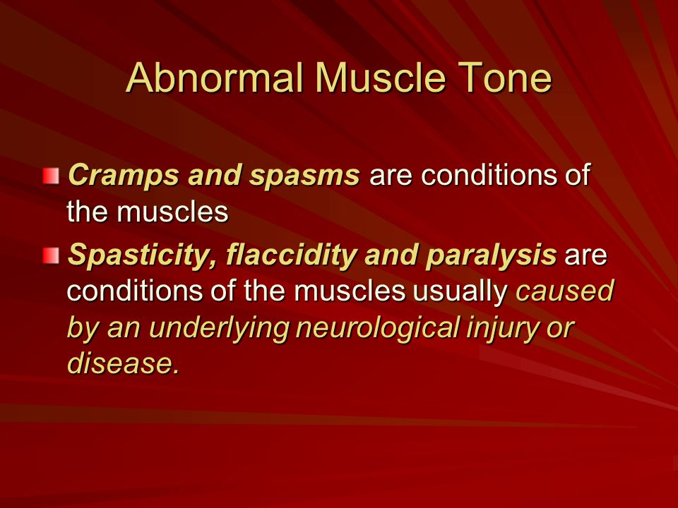 Abnormal Muscle Tone Cramps and spasms are conditions of the muscles