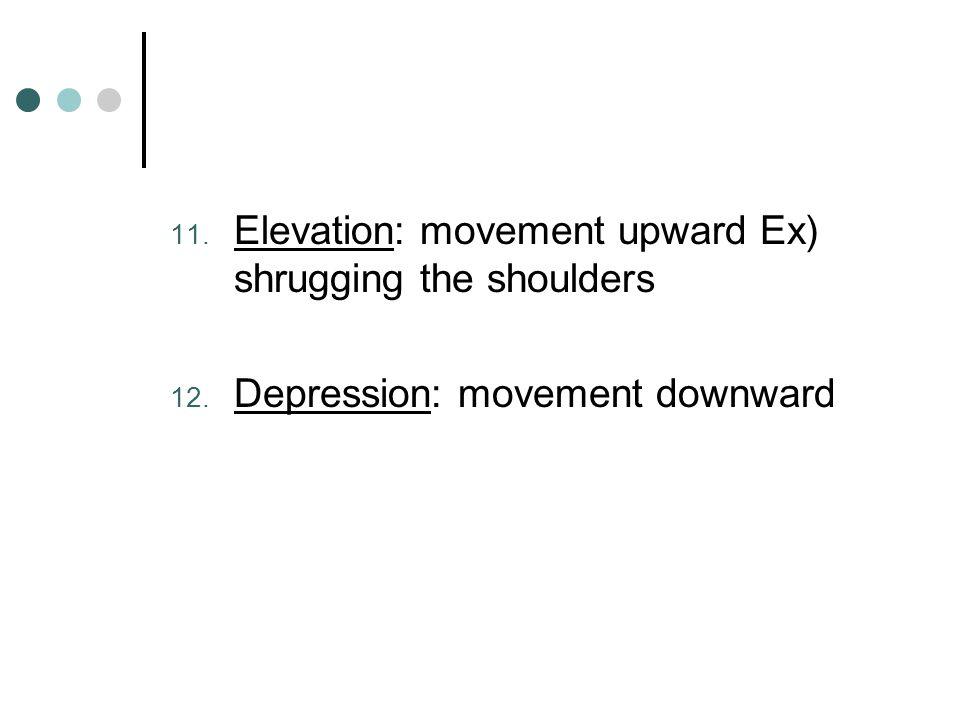 Elevation: movement upward Ex) shrugging the shoulders