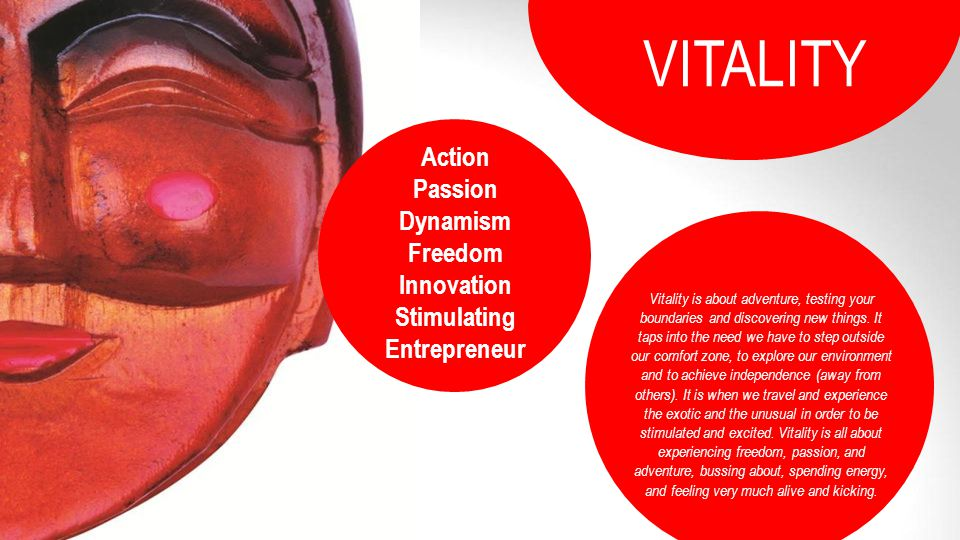 VITALITY Action Passion Dynamism Freedom Innovation Stimulating