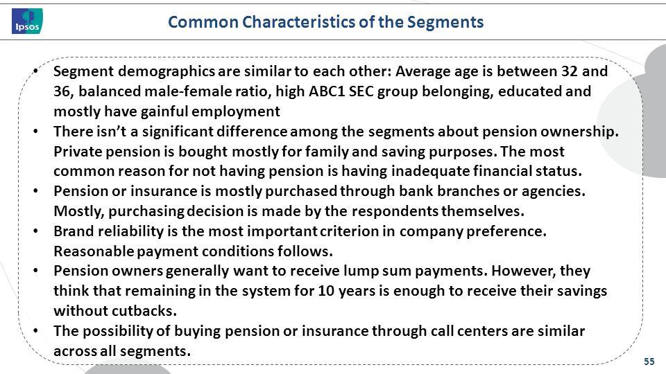 Common Characteristics of the Segments
