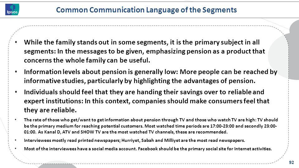 Common Communication Language of the Segments