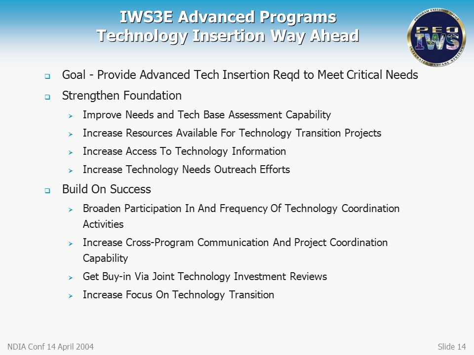 IWS3E Advanced Programs Technology Insertion Way Ahead