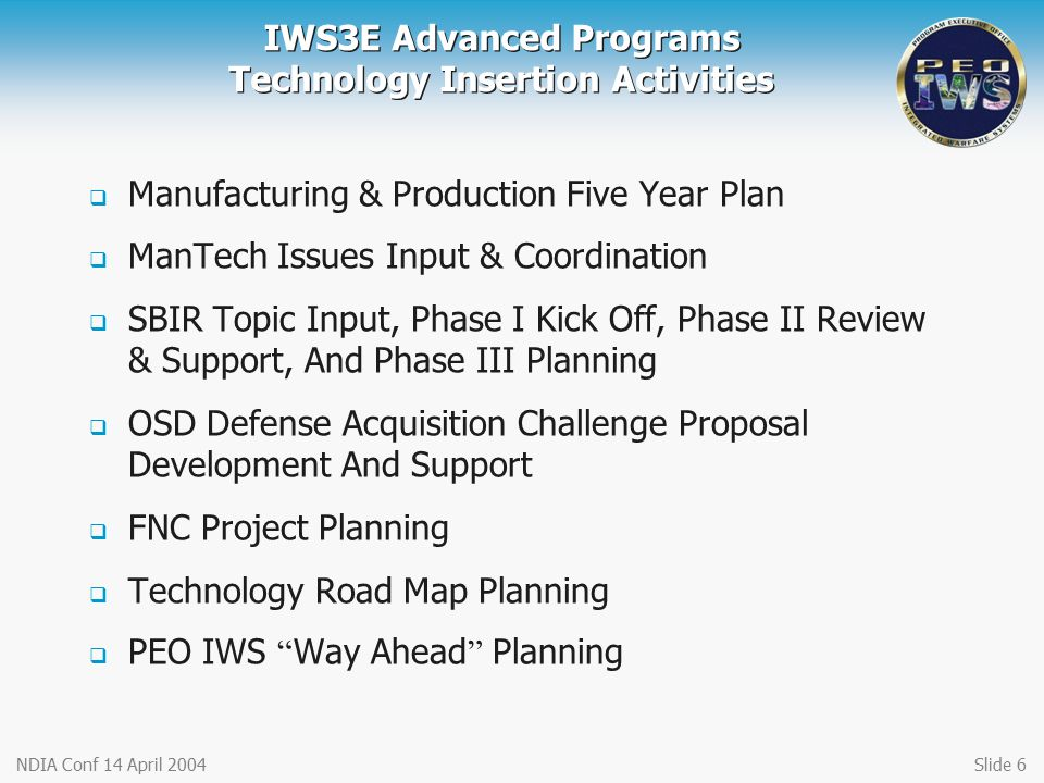 IWS3E Advanced Programs Technology Insertion Activities