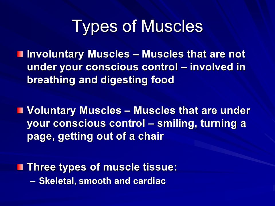 Types of Muscles Involuntary Muscles – Muscles that are not under your conscious control – involved in breathing and digesting food.
