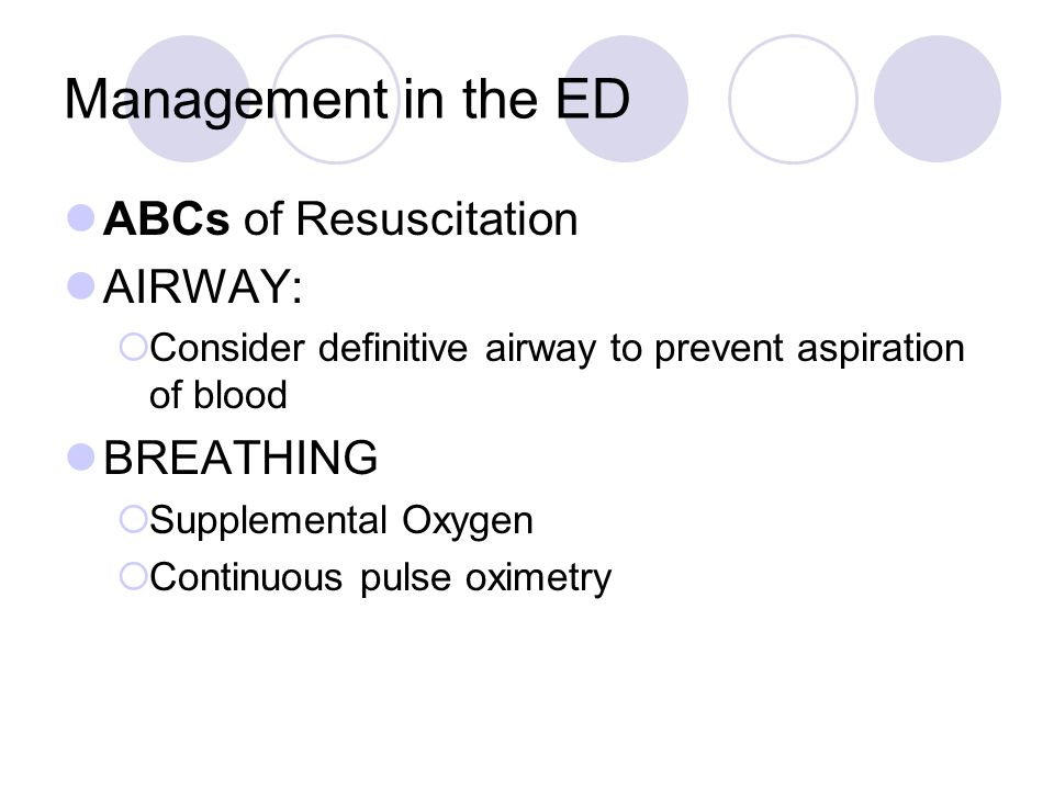 Management in the ED ABCs of Resuscitation AIRWAY: BREATHING