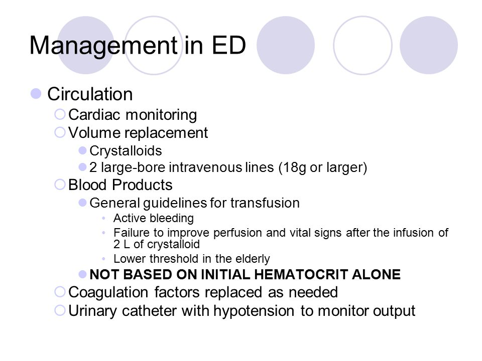 Management in ED Circulation Cardiac monitoring Volume replacement