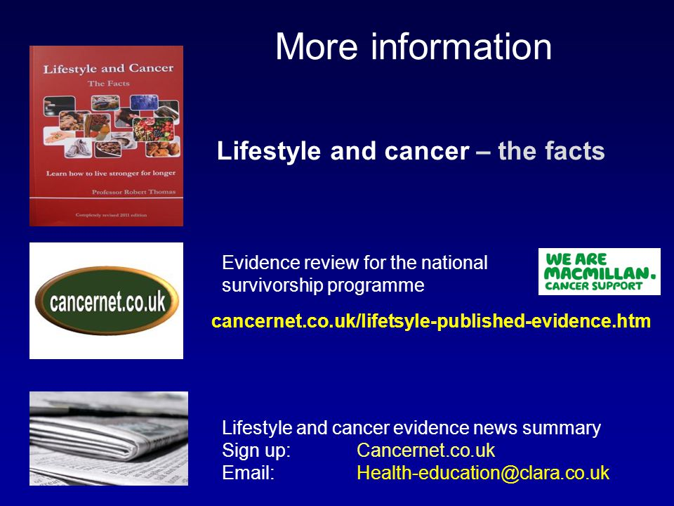 More information Lifestyle and cancer – the facts