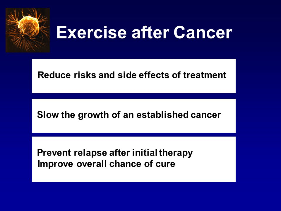 Exercise after Cancer Reduce risks and side effects of treatment