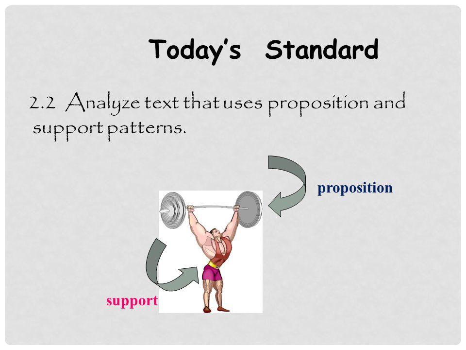 Today's Standard 2.2 Analyze text that uses proposition and