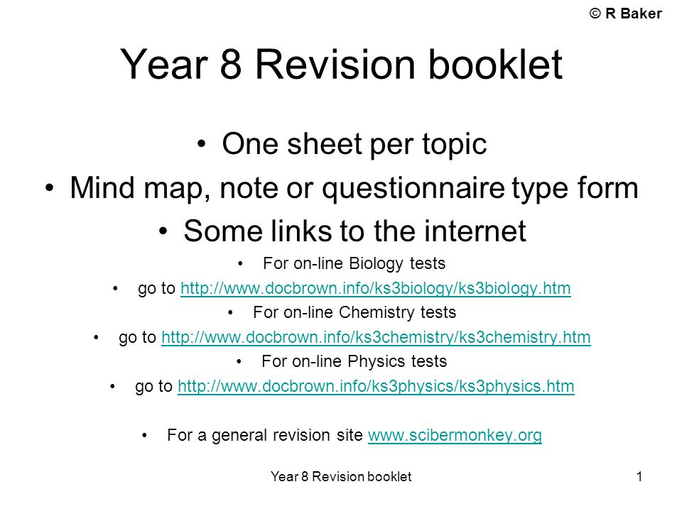 Year 8 Revision booklet One sheet per topic