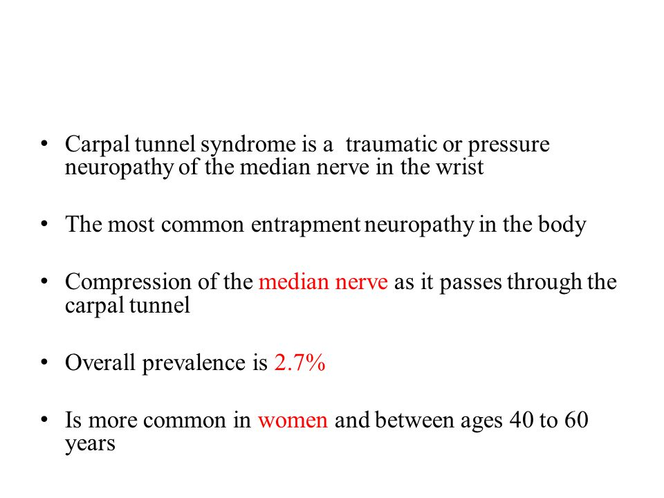 Carpal tunnel syndrome is a traumatic or pressure neuropathy of the median nerve in the wrist
