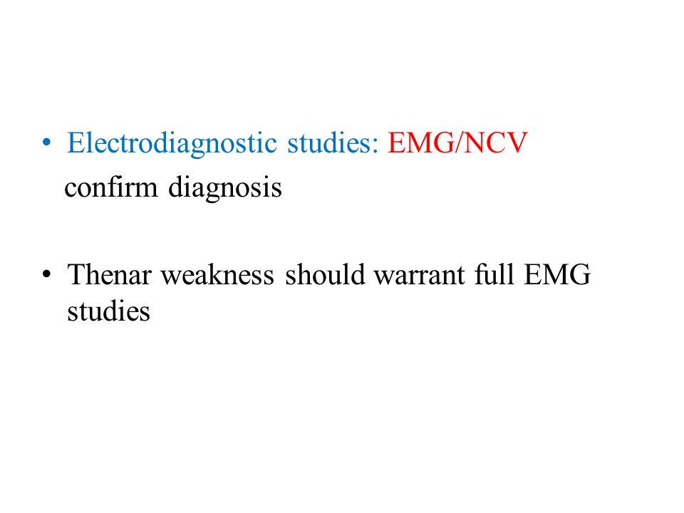 Electrodiagnostic studies: EMG/NCV