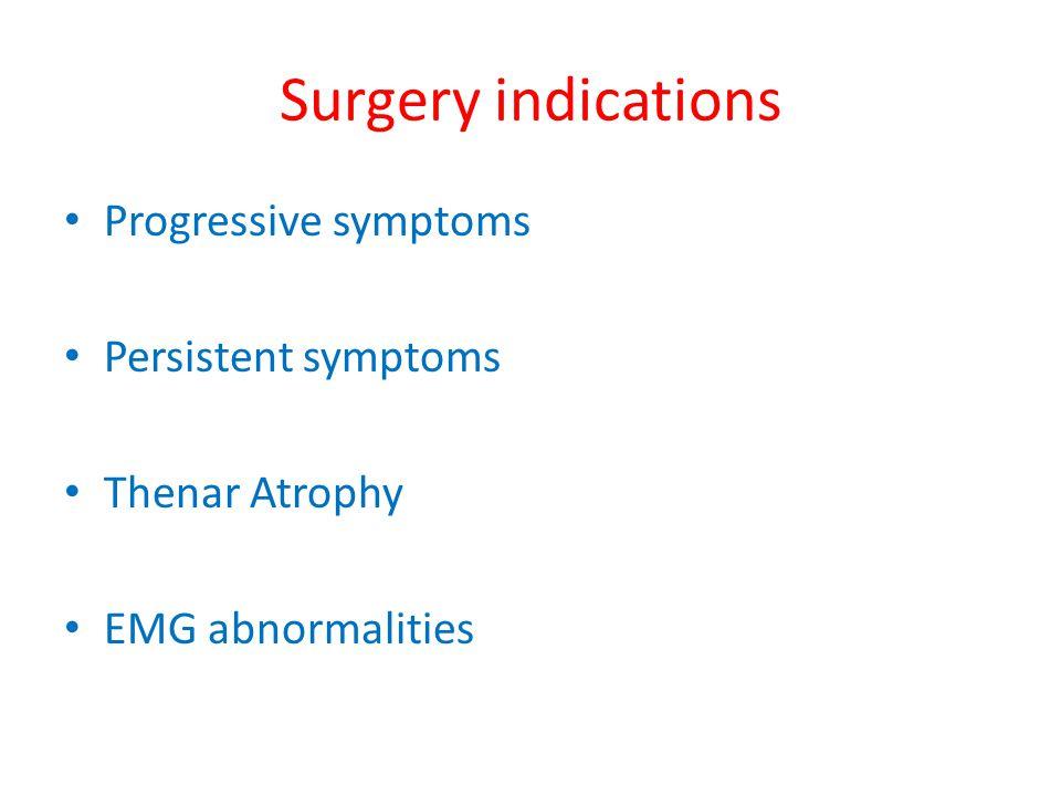 Surgery indications Progressive symptoms Persistent symptoms
