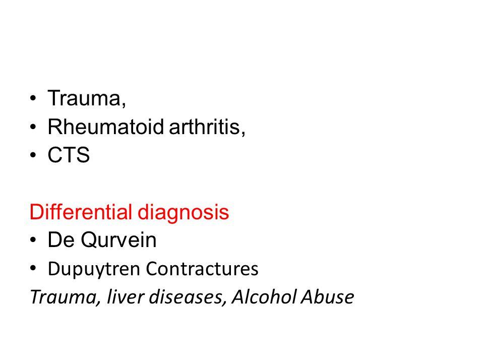 Trauma, Rheumatoid arthritis, CTS. Differential diagnosis.
