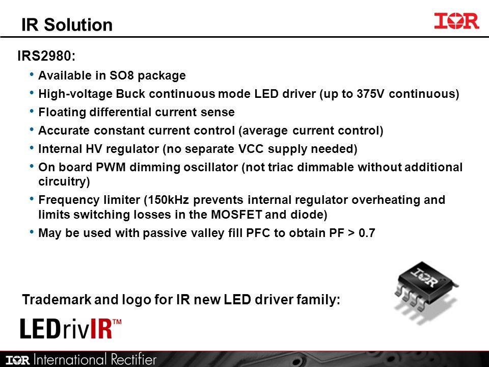 IR Solution IRS2980: Trademark and logo for IR new LED driver family: