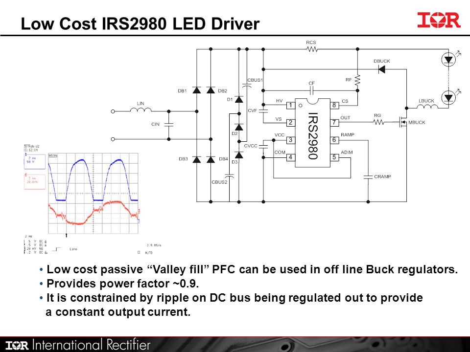Low Cost IRS2980 LED Driver Low cost passive Valley fill PFC can be used in off line Buck regulators.