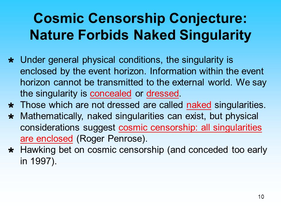 Cosmic Censorship Conjecture: Nature Forbids Naked Singularity