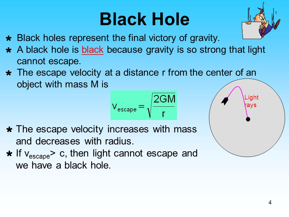 Black Hole Black holes represent the final victory of gravity. A black hole is black because gravity is so strong that light cannot escape.