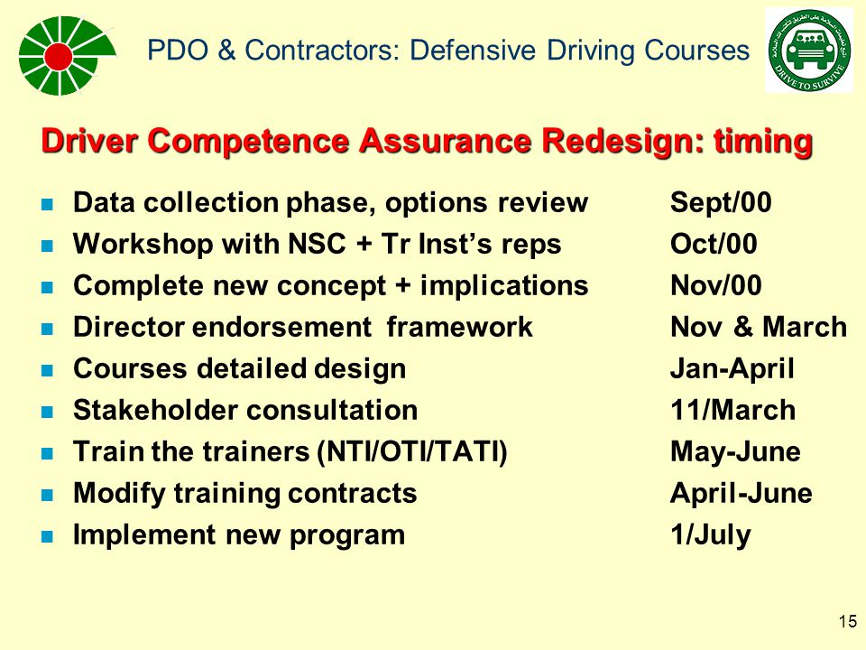 Driver Competence Assurance Redesign: timing