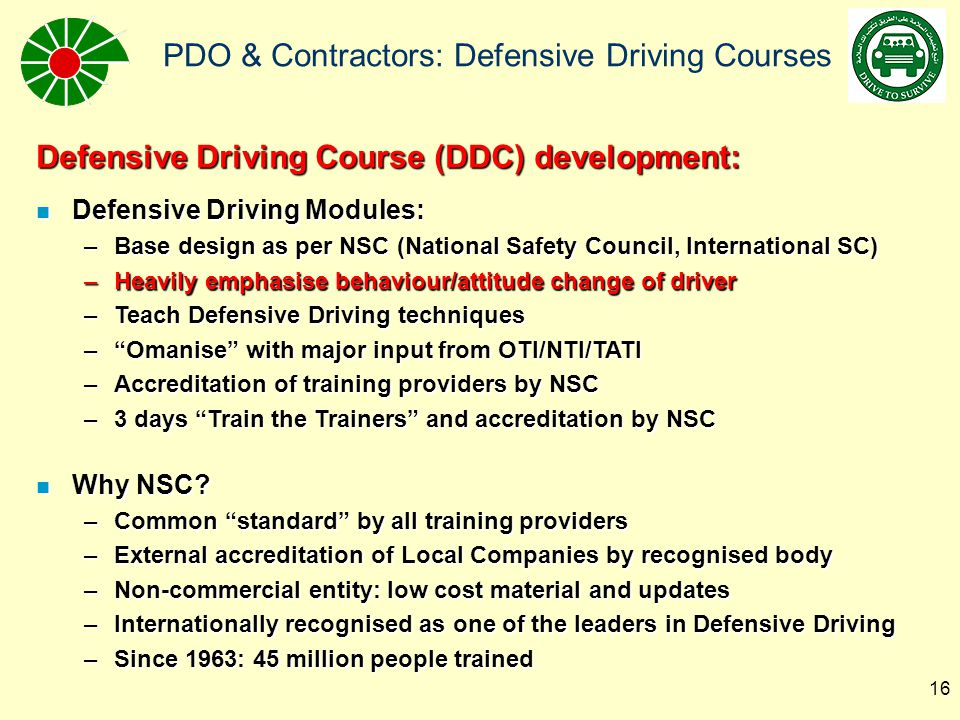 Defensive Driving Course (DDC) development: