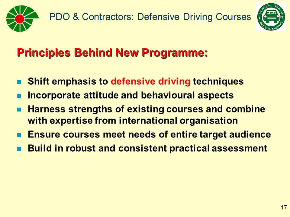 Principles Behind New Programme: