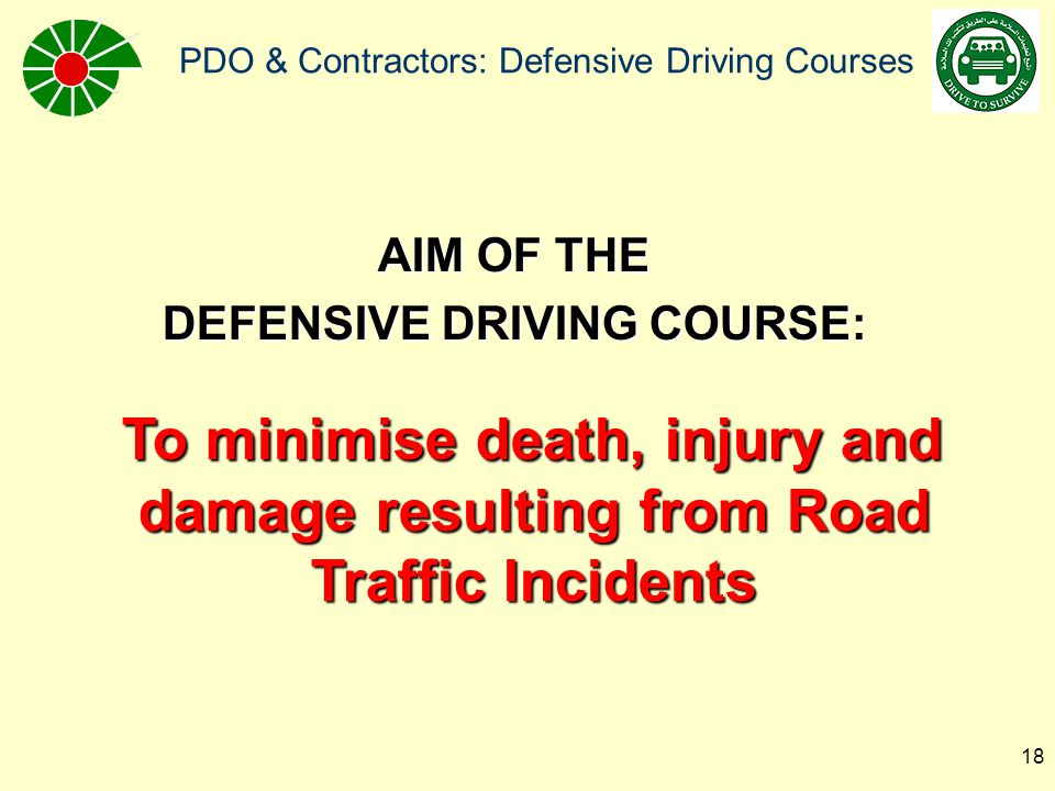 DEFENSIVE DRIVING COURSE: