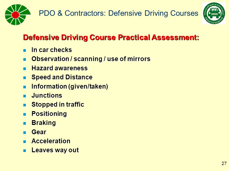 Defensive Driving Course Practical Assessment:
