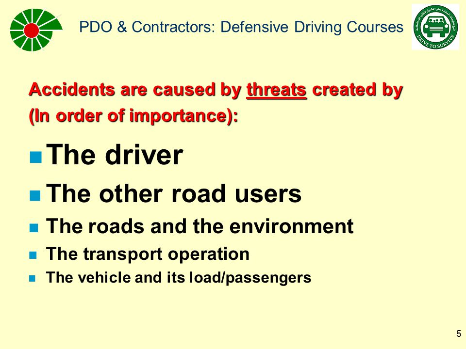 The driver The other road users The roads and the environment