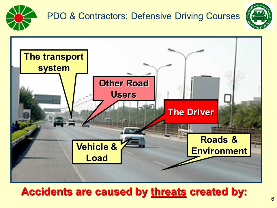 Accidents are caused by threats created by: