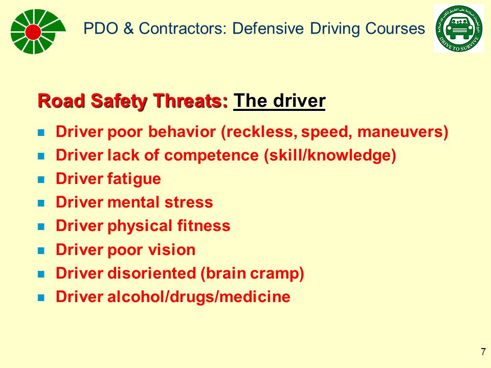 Road Safety Threats: The driver