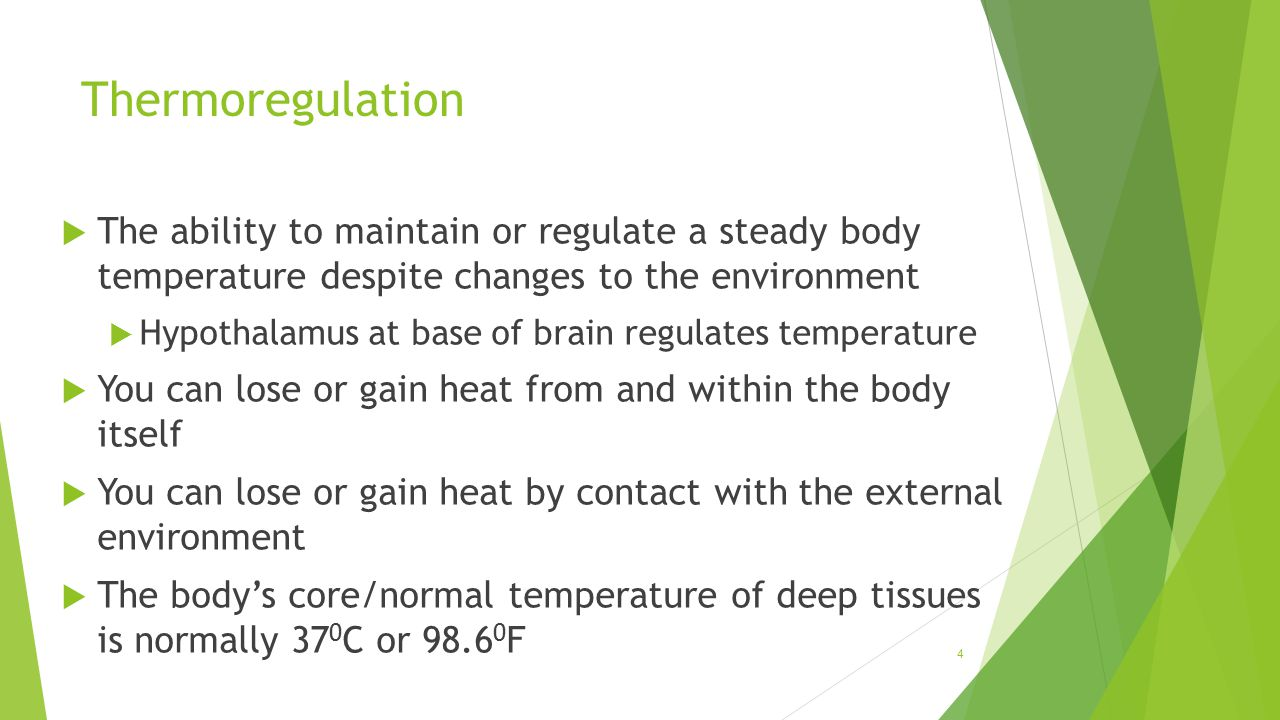 Thermoregulation The ability to maintain or regulate a steady body temperature despite changes to the environment.