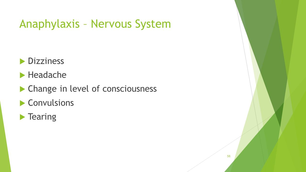 Anaphylaxis – Nervous System