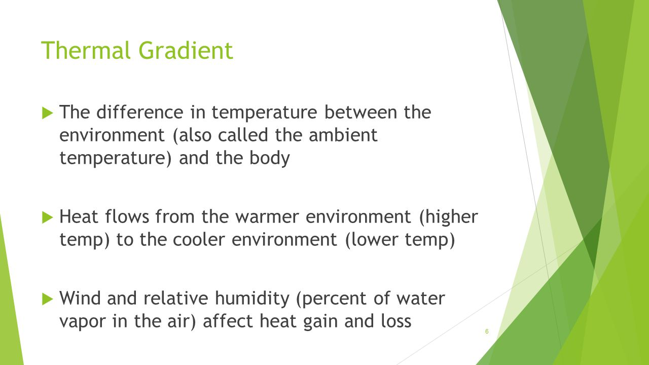 Thermal Gradient The difference in temperature between the environment (also called the ambient temperature) and the body.