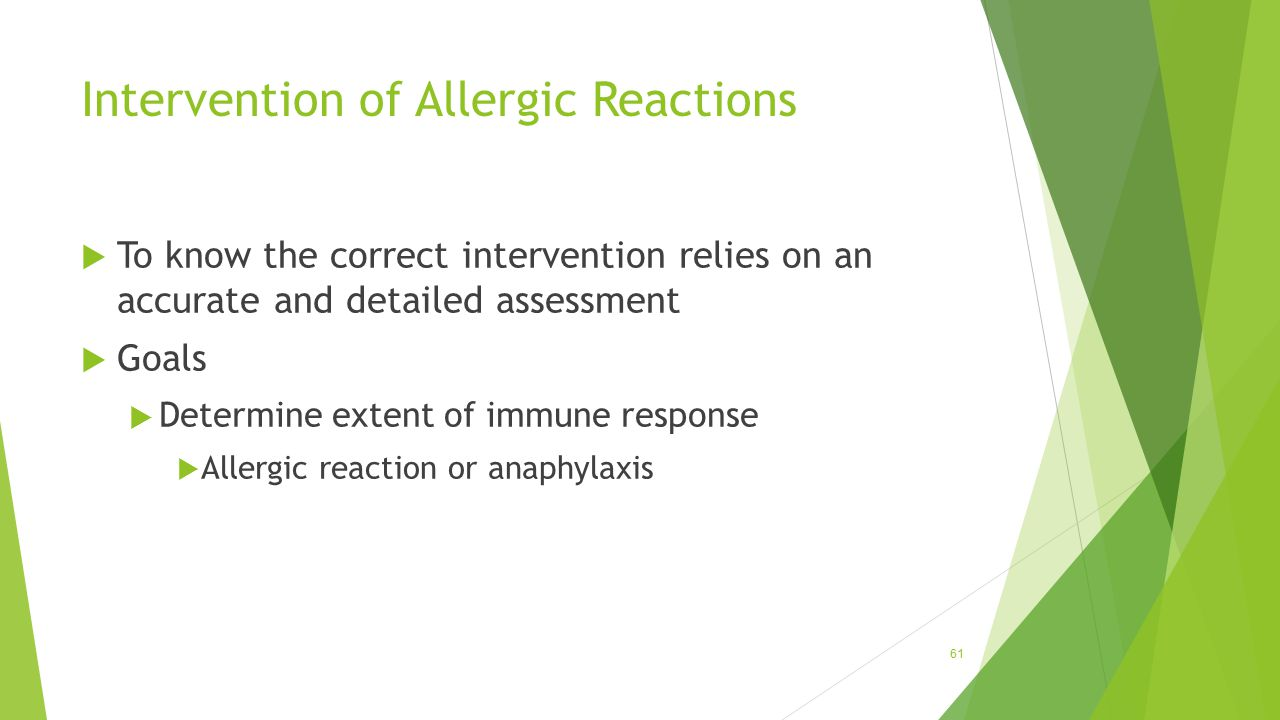 Intervention of Allergic Reactions