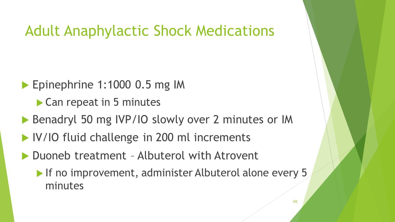 Adult Anaphylactic Shock Medications