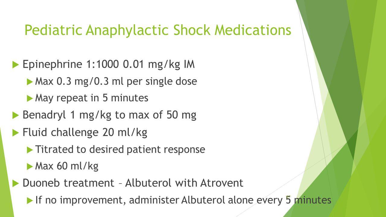 Pediatric Anaphylactic Shock Medications
