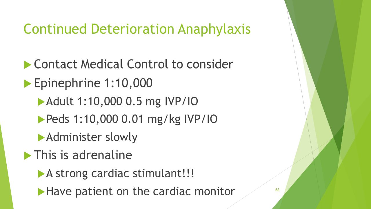 Continued Deterioration Anaphylaxis