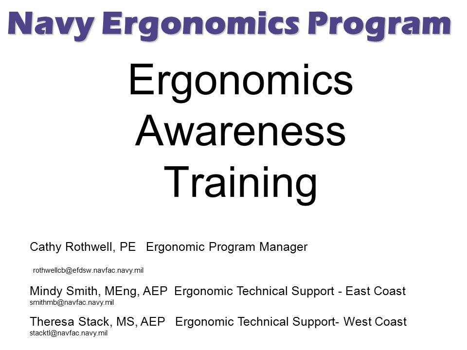 Ergonomics Awareness Training