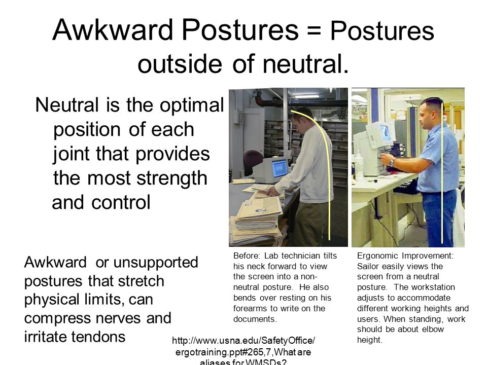 Awkward Postures = Postures outside of neutral.