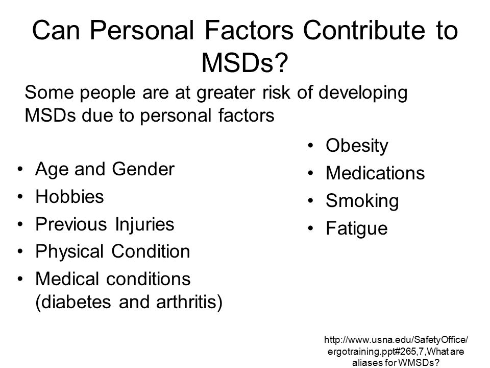 Can Personal Factors Contribute to MSDs
